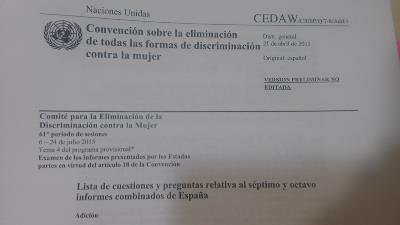 Detalle de un documento con cabecera del Comité para la Eliminación de Todas las Formas de Discriminación contra la Mujer