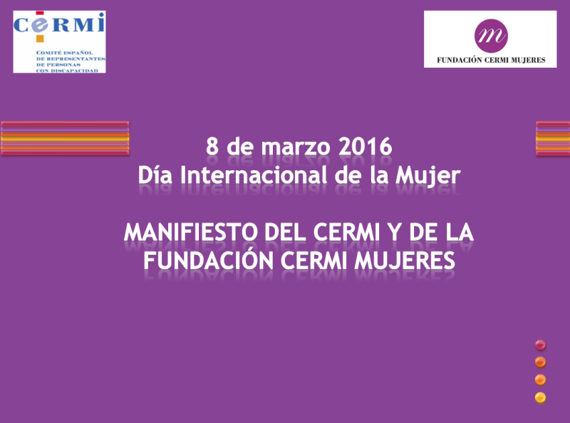Detalle de la portada del Manifiesto del CERMI y de la FCM por el Día Internacional de la Mujer 2016
