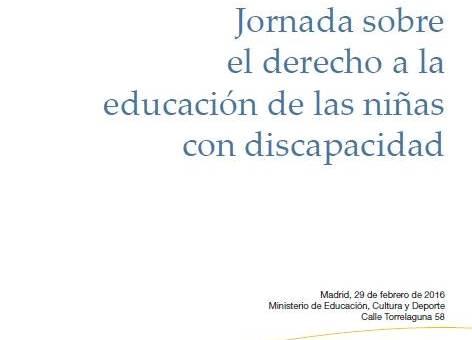 Detalle del cartel de la Jornada sobre el derecho a la educación de las niñas con discapacidad