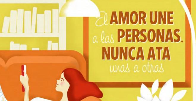 Viñeta que ilustra que el amor no ata a las personas
