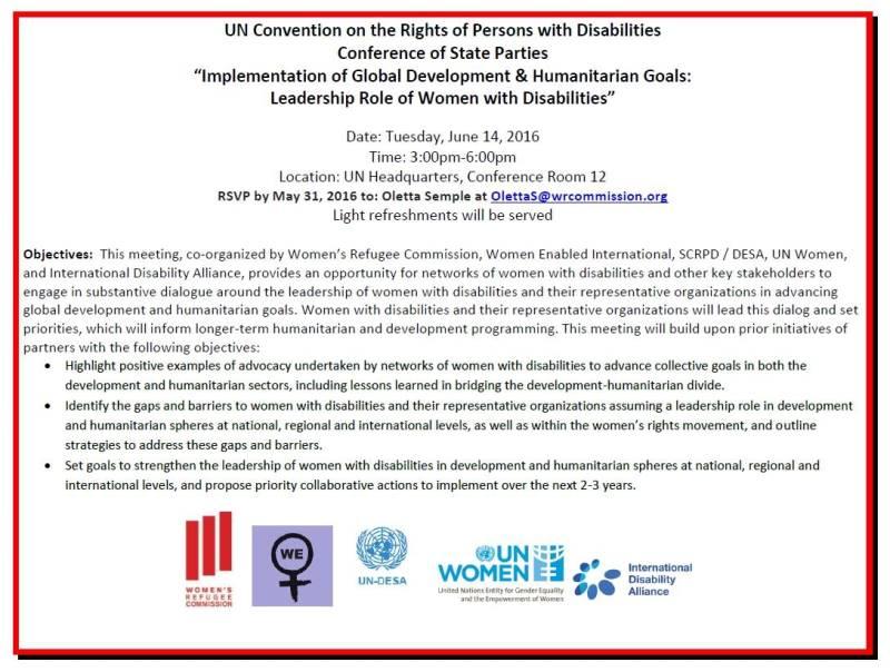 """""""Aplicación de Desarrollo Global y objetivos humanitarios: Liderazgo del Papel de las Mujeres con Discapacidad"""""""