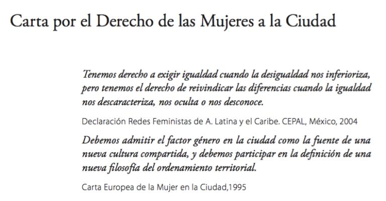 Detalle de 'Carta por el derecho de las mujeres a la ciudad'