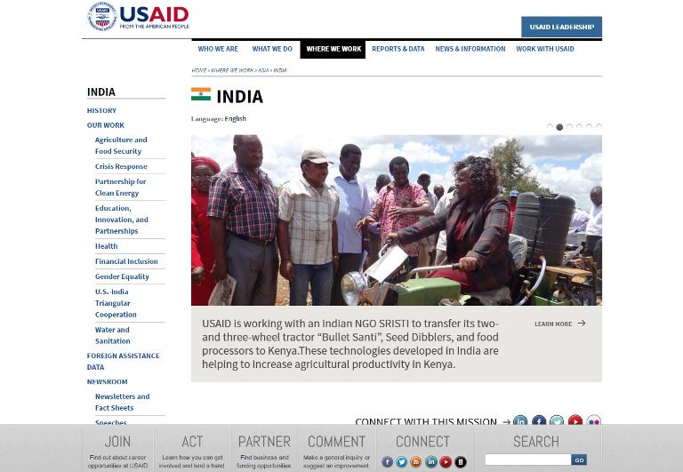Detalle de la página web de Usaid