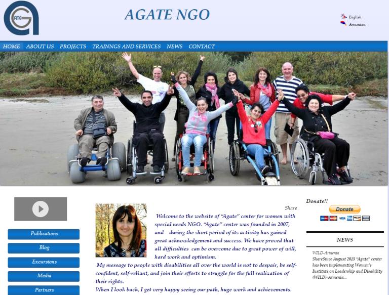 Portada de la página web de la ONG Agate