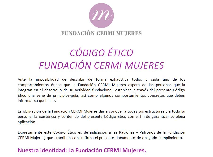 Detalle de la portada del Código Ético de la Fundación CERMI Mujeres