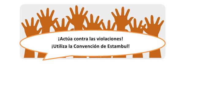 Dibujo de manos alzadas que invitan a utilizar la Convención de Estambul