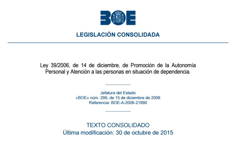 Detalle del BOE electrónico publicando la Ley 39/2006, de 14 de diciembre, de Promoción de la Autonomía Personal y Atención a las personas en situación de dependencia