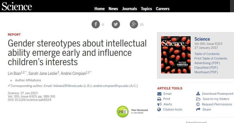 Detalle del artículo publicado por el Sciencie