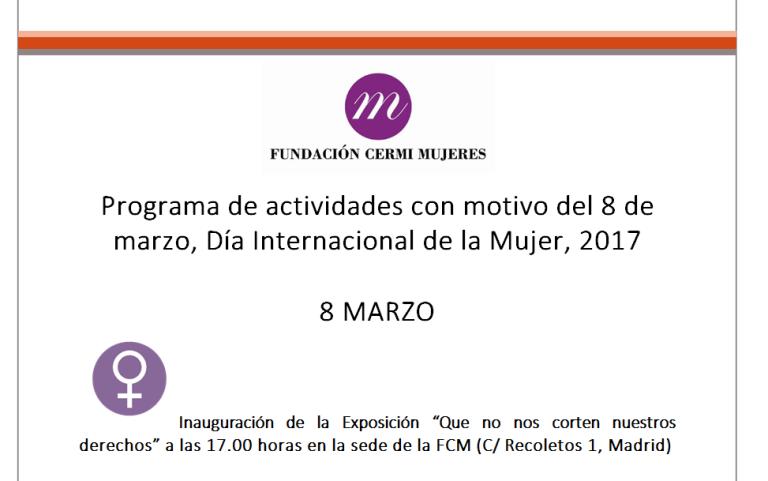 """Detalle del """"Programa de actividades con motivo del 8 de marzo, Día Internacional de la Mujer, 2017"""""""