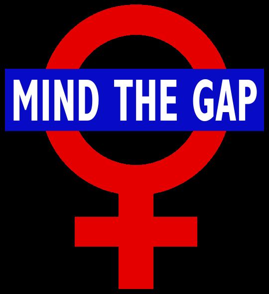Imagen del símbolo de la mujer con un letrero sobre él que dice 'Mind the gup'