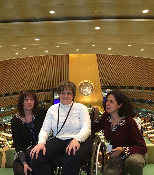 Ana Peláez, Marta Valencia e Isabel Caballero en la sede de Naciones Unidas