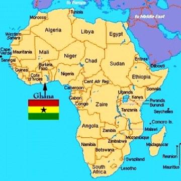 Mapa de África con Ganha señalizada