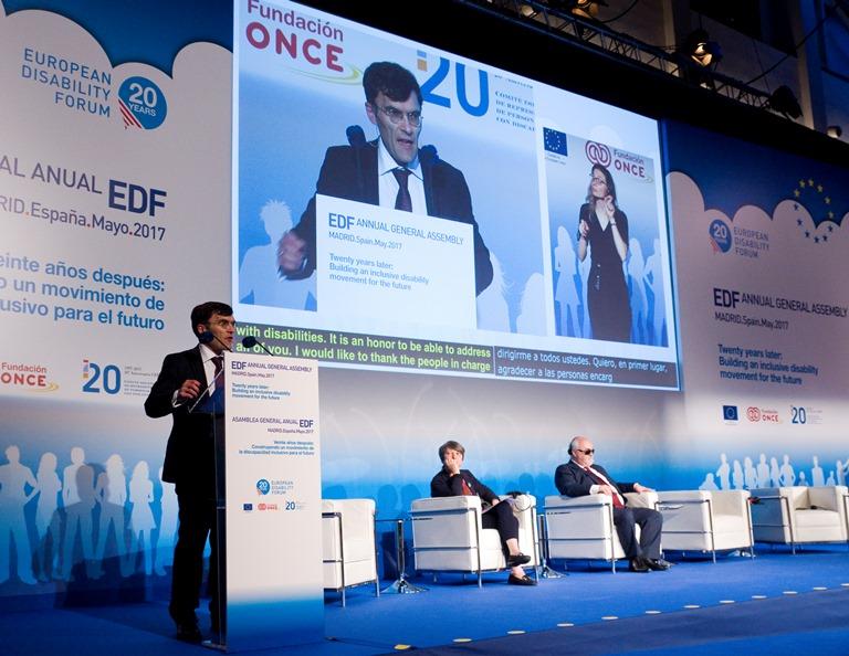 Alberto Durán, secretario general del CERMI, en un momento de la Asamblea General del EDF en España