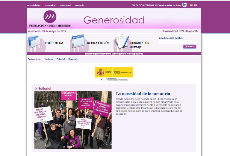 Detalle de una portada del boletín 'Generosidad'