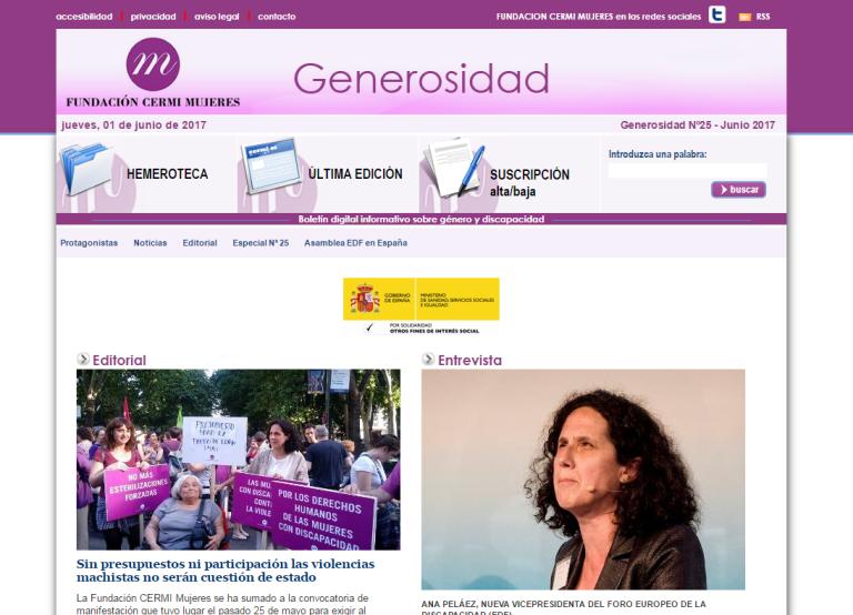 Detalle de la portada del 25 boletín 'Generosidad'