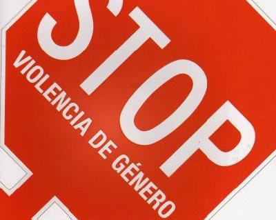 Detalle de una señal de stop a la violencia de género