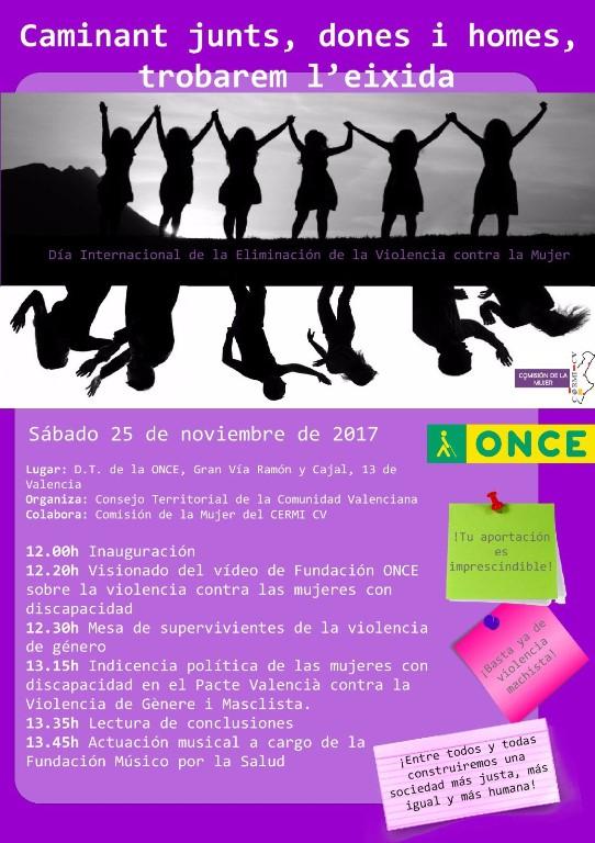 Cartel de CERMI Comunidad de Valencia alertando de que las mujeres con discapacidad quedarán atrás si los recursos