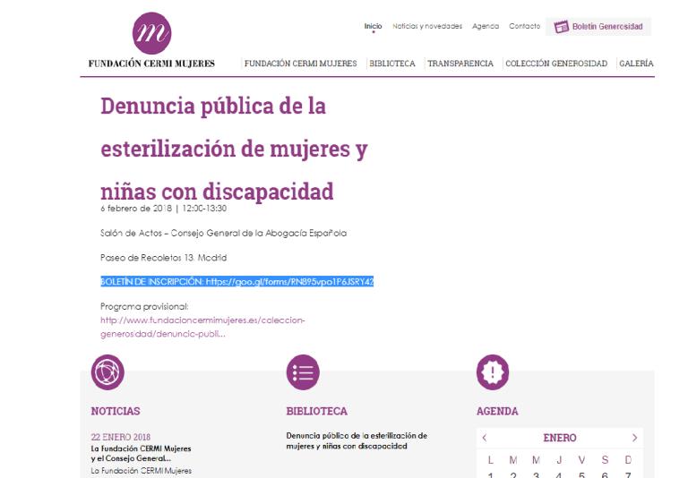 Detalle de la página web de Fundación CERMI Mujeres