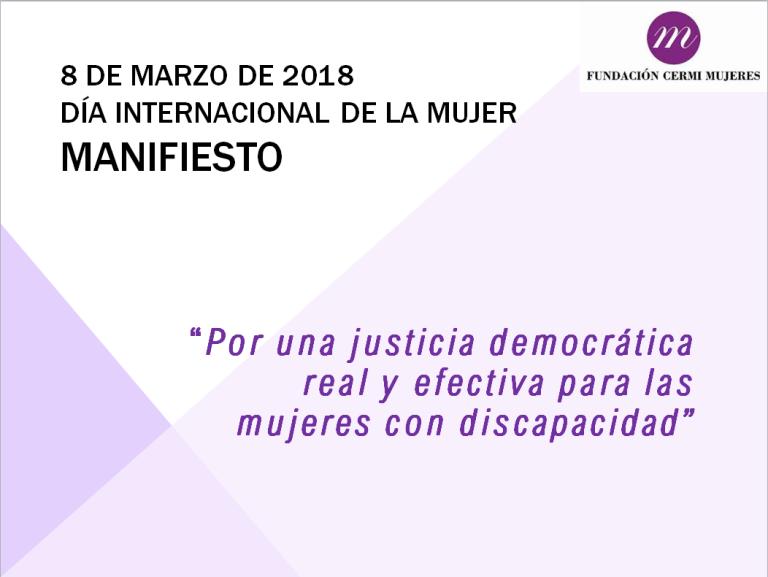 Detalle de la portada del Manifiesto del CERMI y de la FCM por el Día Internacional de la Mujer 2018