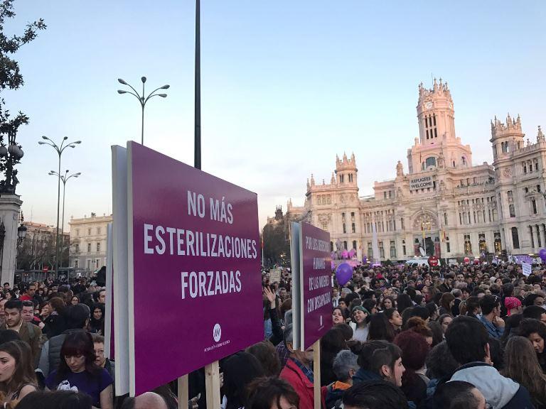 Momento de la manifestación del Día Internacional de la Mujer de 2017