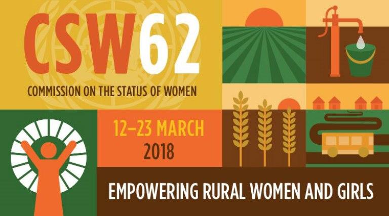 Logotipo de la 62° sesión de la Comisión de las Naciones Unidas sobre el Estatus de la Mujer (CSW62)