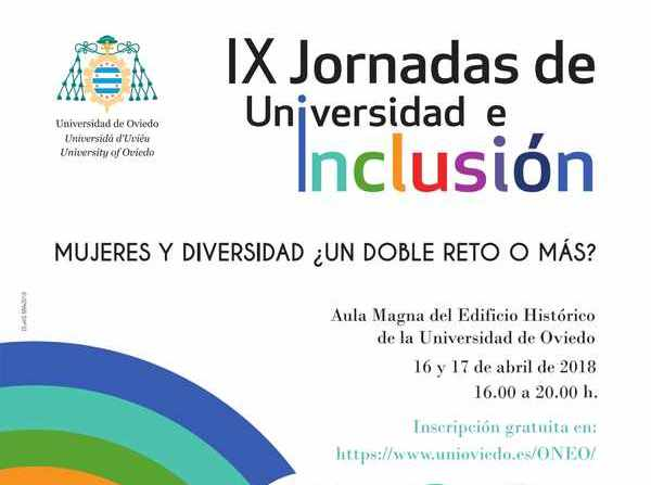 Detalle del cartel de las 'IX Jornadas Universidad e Inclusión: Mujeres y Diversidad ¿Un reto o más?' celebradas en la Universidad de Oviedo
