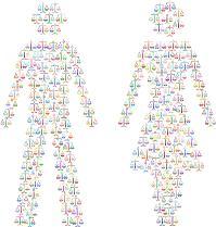 Silueta de dos personas, un hombre y una mujer, compuestos por balanzas
