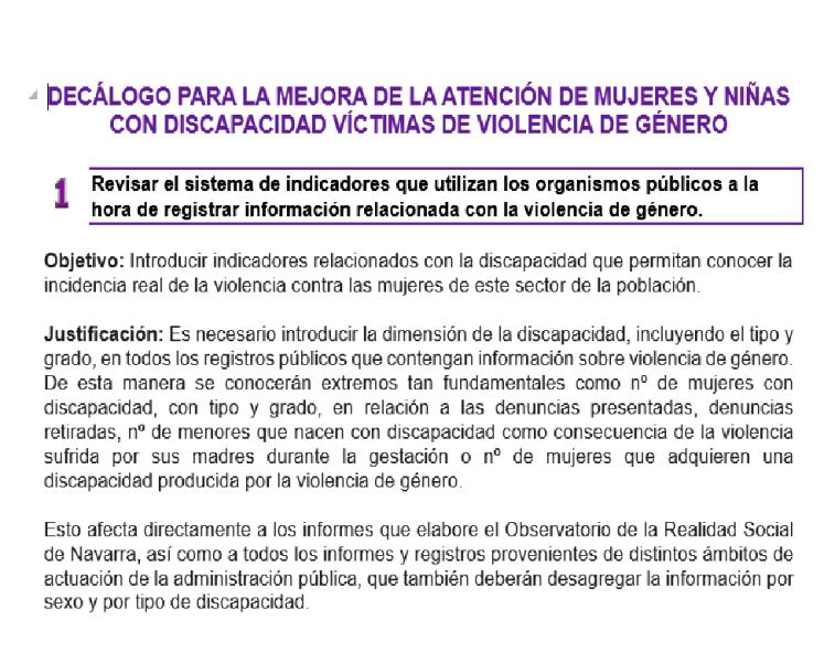 decálogo para la mejora de la atención de las mujeres con discapacidad víctimas de violencia de género
