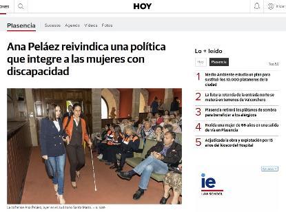 Detalle de la publicación extremeña en la que se publica la noticia sobre Ana Peláez
