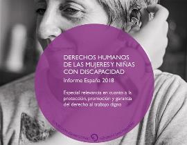 """Detalle de la portada de """"Derechos Humanos de las Mujeres y Niñas con Discapacidad. Informe España 2018"""""""