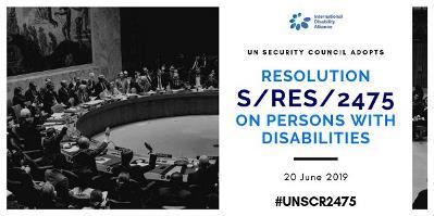 Fotomontaje del Consejo de Seguridad de la ONU sobre una resolución sobre la situación de las personas con discapacidad en los conflictos armados y crisis humanitarias