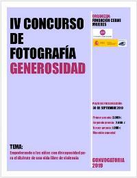 """Cartel de IV Concurso de Fotografía Generosidad """"Empoderando a las niñas con discapacidad para el disfrute de una vida libre de violencia"""""""