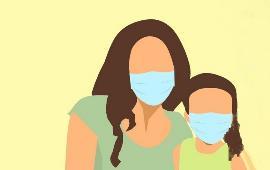 Ilustración de una mujer y una niña con mascarilla