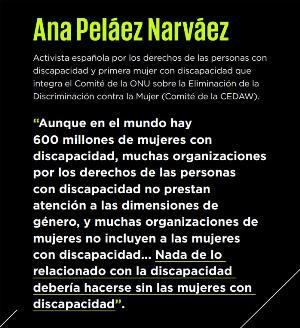 La ONU ensalza el trabajo de Ana Peláez como activista por los derechos de las mujeres con discapacidad