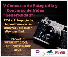 El concurso de vídeo y fotografía 'Generosidad' visibilizará este año el impacto de la pandemia en las mujeres y niñas con discapacidad