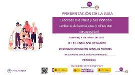Cartel de la presentación de la guía de FCM para mejorar el acceso a la salud y a la atención sanitaria de las mujeres y niñas con discapacidad
